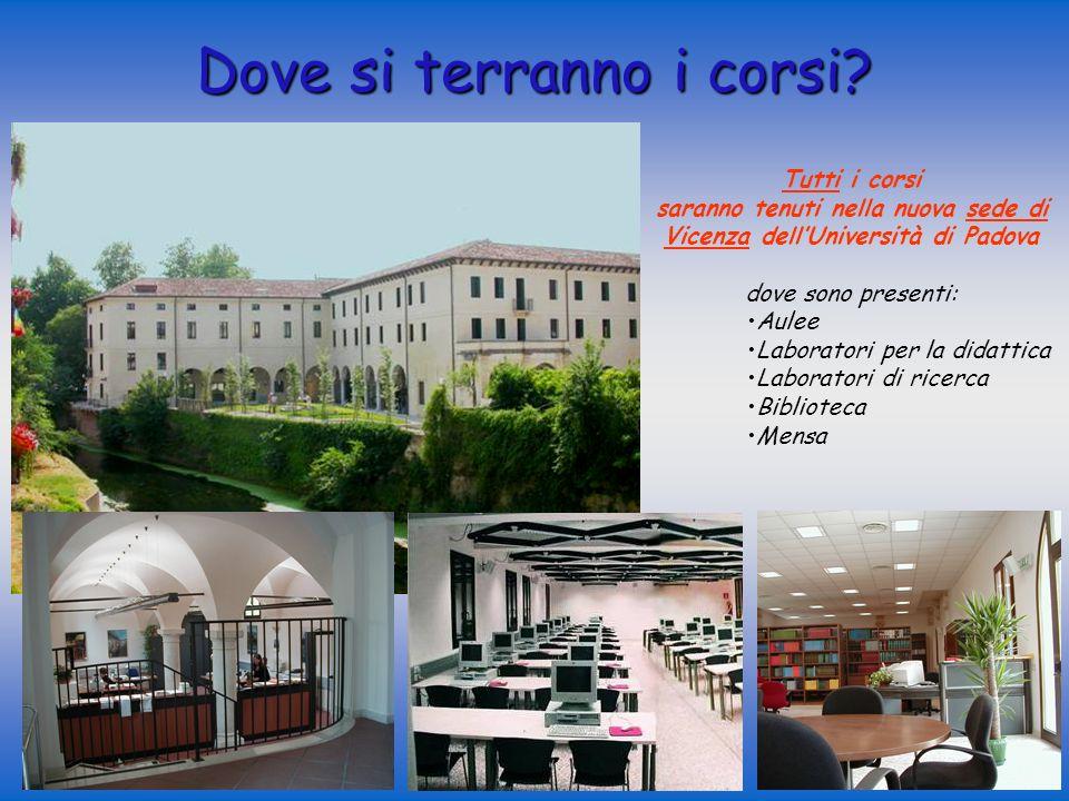 Tutti i corsi saranno tenuti nella nuova sede di Vicenza dellUniversità di Padova dove sono presenti: Aulee Laboratori per la didattica Laboratori di ricerca Biblioteca Mensa Dove si terranno i corsi?