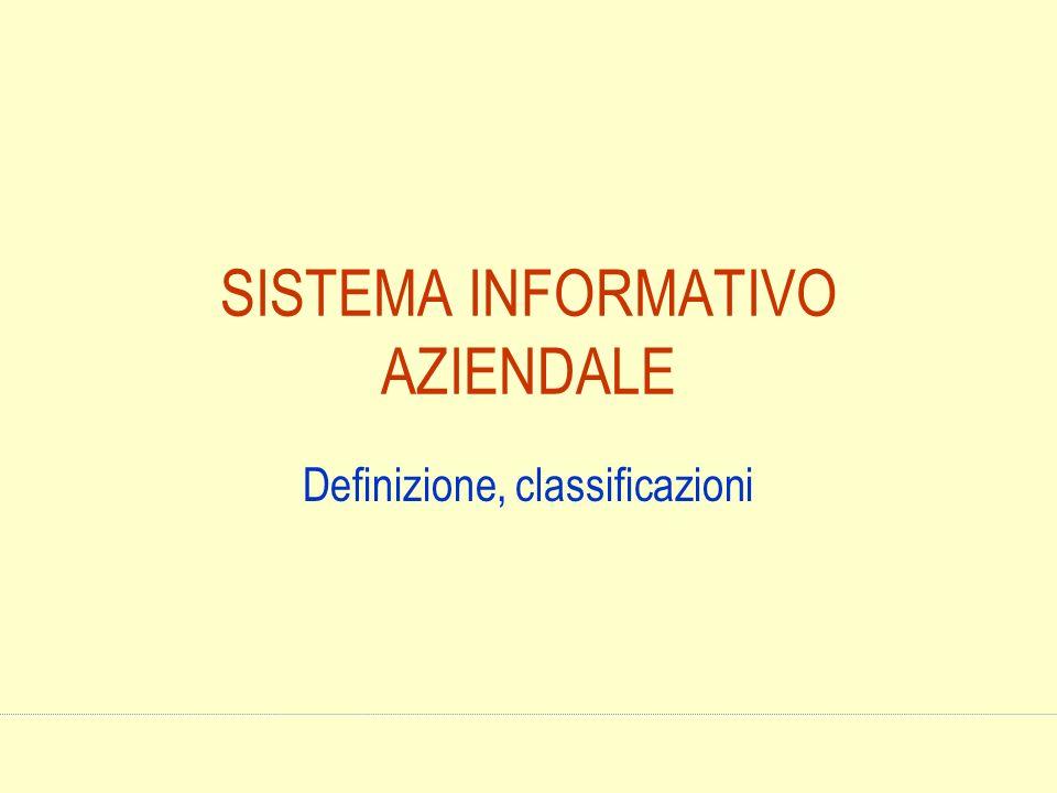 SISTEMA INFORMATIVO AZIENDALE Definizione, classificazioni