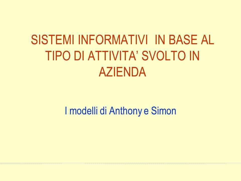 SISTEMI INFORMATIVI IN BASE AL TIPO DI ATTIVITA SVOLTO IN AZIENDA I modelli di Anthony e Simon
