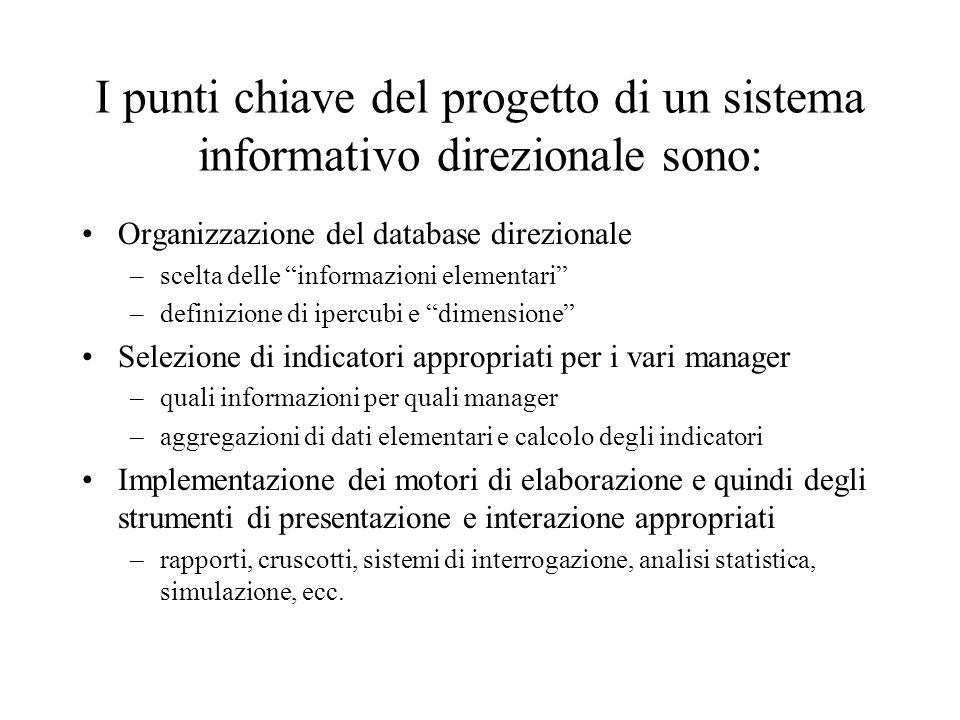 I punti chiave del progetto di un sistema informativo direzionale sono: Organizzazione del database direzionale –scelta delle informazioni elementari