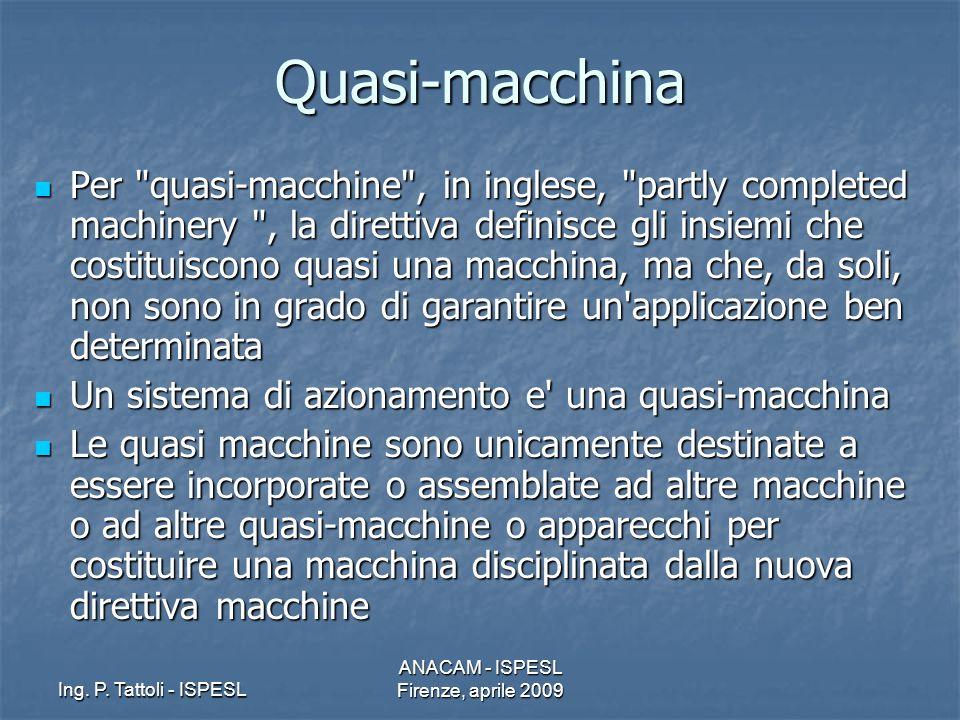 Ing. P. Tattoli - ISPESL ANACAM - ISPESL Firenze, aprile 2009 Quasi-macchina Per