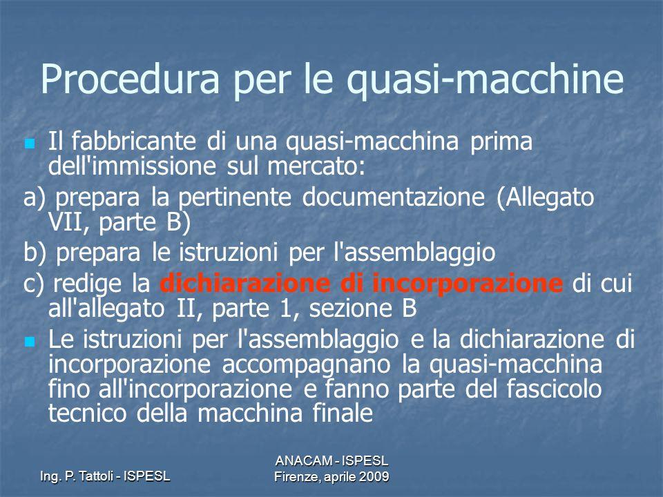 Ing. P. Tattoli - ISPESL ANACAM - ISPESL Firenze, aprile 2009 Procedura per le quasi-macchine Il fabbricante di una quasi-macchina prima dell'immissio
