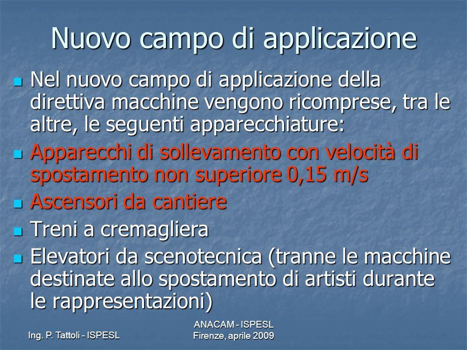 Ing. P. Tattoli - ISPESL ANACAM - ISPESL Firenze, aprile 2009 Nuovo campo di applicazione Nel nuovo campo di applicazione della direttiva macchine ven