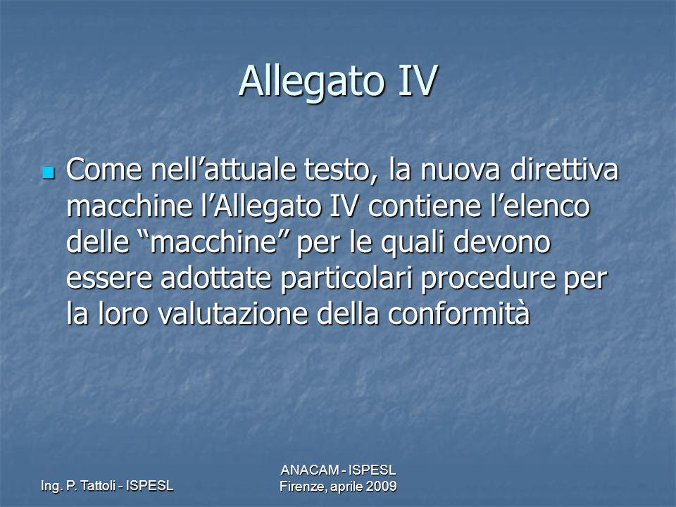 Ing. P. Tattoli - ISPESL ANACAM - ISPESL Firenze, aprile 2009 Allegato IV Come nellattuale testo, la nuova direttiva macchine lAllegato IV contiene le