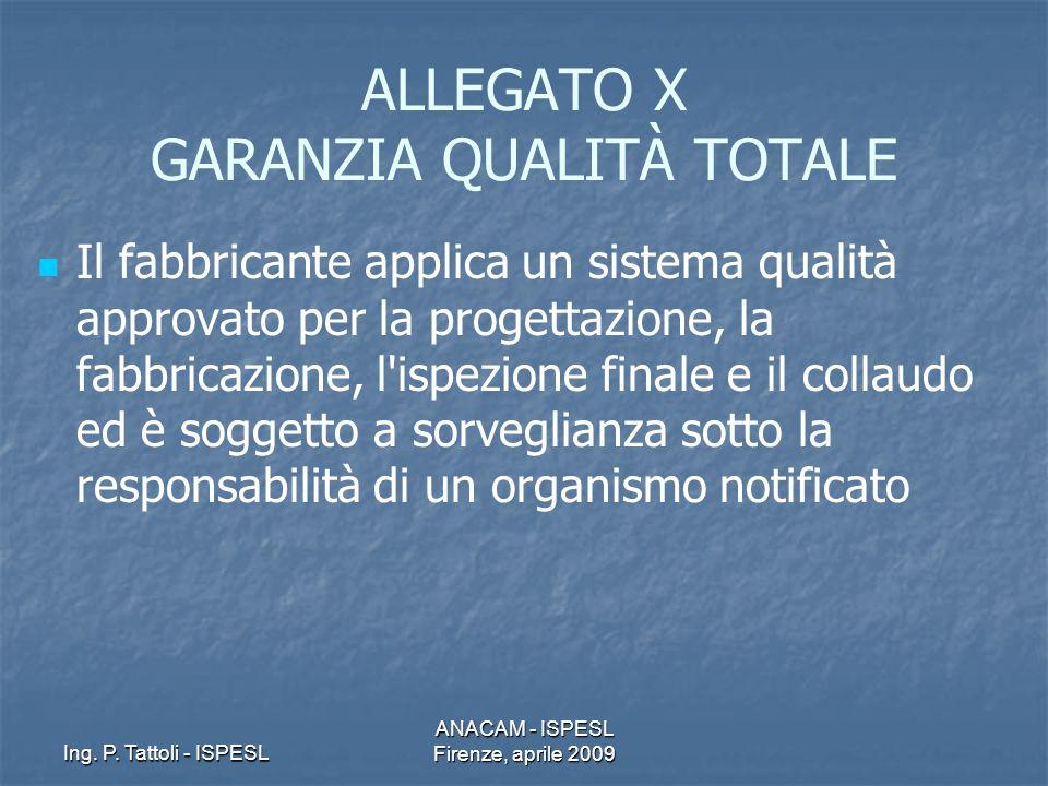 Ing. P. Tattoli - ISPESL ANACAM - ISPESL Firenze, aprile 2009 ALLEGATO X GARANZIA QUALITÀ TOTALE Il fabbricante applica un sistema qualità approvato p