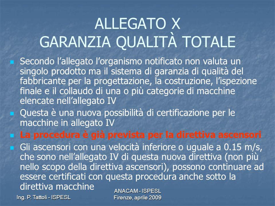 Ing. P. Tattoli - ISPESL ANACAM - ISPESL Firenze, aprile 2009 ALLEGATO X GARANZIA QUALITÀ TOTALE Secondo lallegato lorganismo notificato non valuta un
