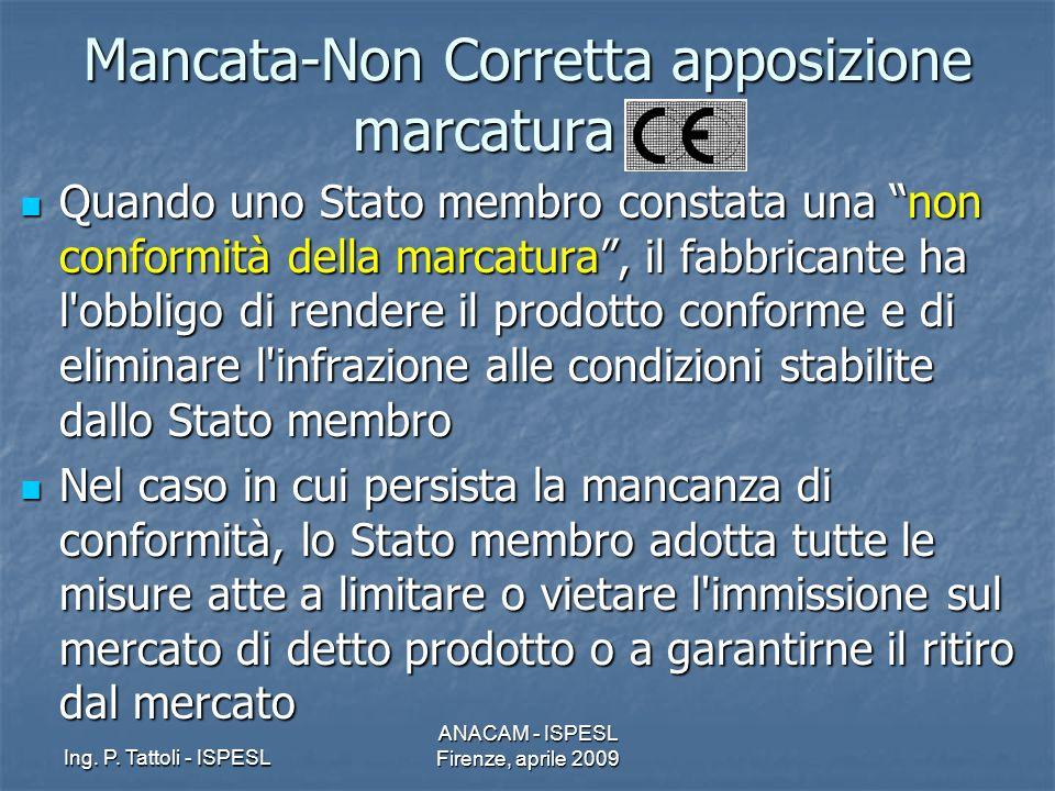 Ing. P. Tattoli - ISPESL ANACAM - ISPESL Firenze, aprile 2009 Mancata-Non Corretta apposizione marcatura CE Quando uno Stato membro constata una non c