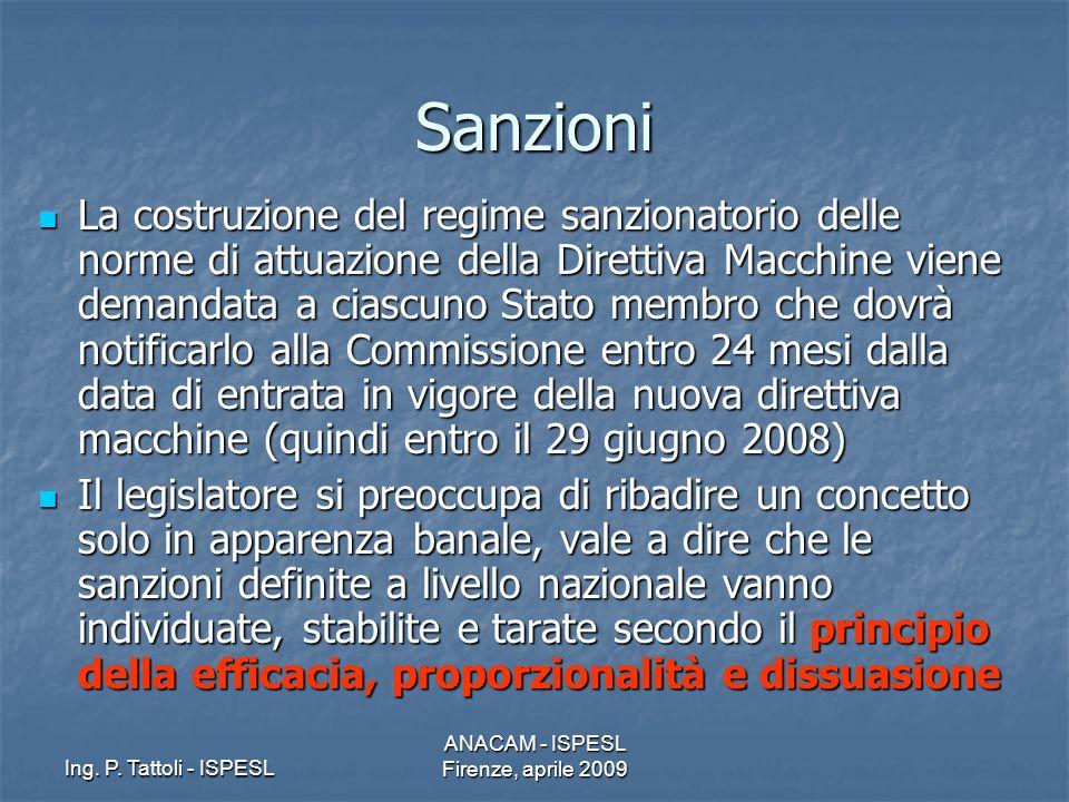 Ing. P. Tattoli - ISPESL ANACAM - ISPESL Firenze, aprile 2009 Sanzioni La costruzione del regime sanzionatorio delle norme di attuazione della Diretti
