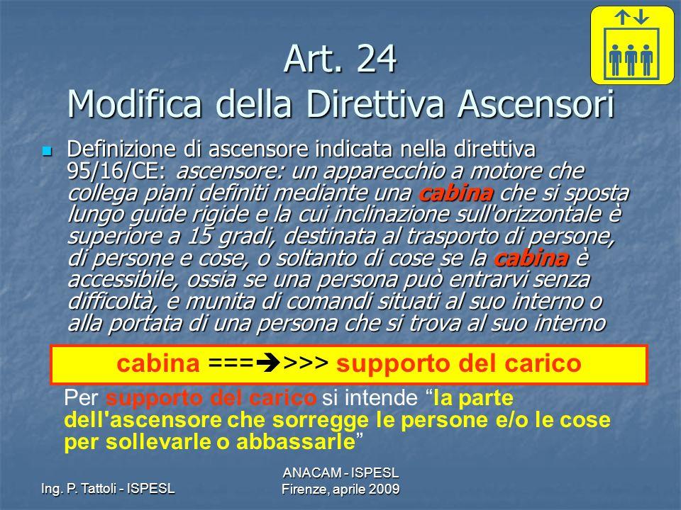 Ing. P. Tattoli - ISPESL ANACAM - ISPESL Firenze, aprile 2009 Art. 24 Modifica della Direttiva Ascensori Definizione di ascensore indicata nella diret