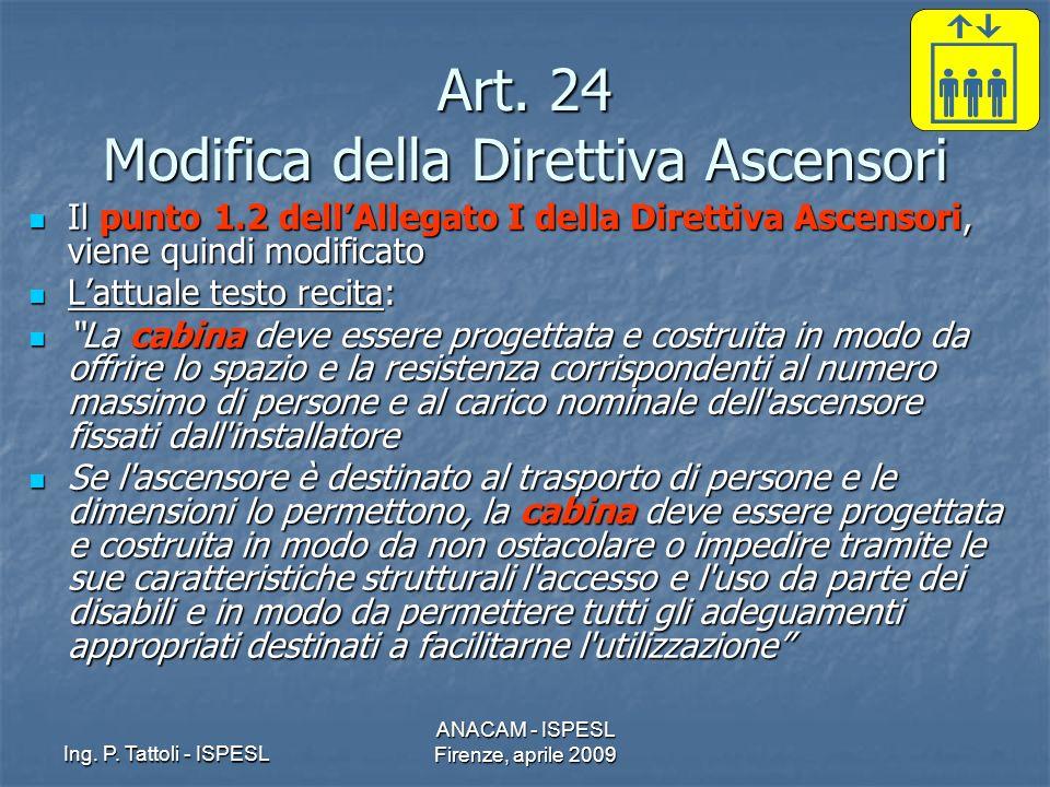 Ing. P. Tattoli - ISPESL ANACAM - ISPESL Firenze, aprile 2009 Art. 24 Modifica della Direttiva Ascensori Il punto 1.2 dellAllegato I della Direttiva A