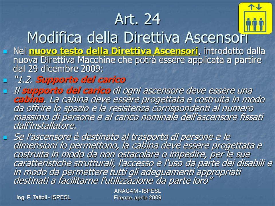 Ing. P. Tattoli - ISPESL ANACAM - ISPESL Firenze, aprile 2009 Art. 24 Modifica della Direttiva Ascensori Nel nuovo testo della Direttiva Ascensori, in