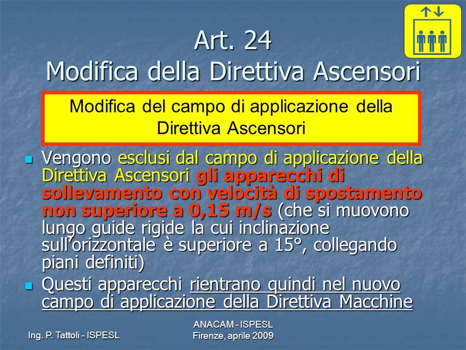 Ing. P. Tattoli - ISPESL ANACAM - ISPESL Firenze, aprile 2009 Art. 24 Modifica della Direttiva Ascensori Vengono esclusi dal campo di applicazione del