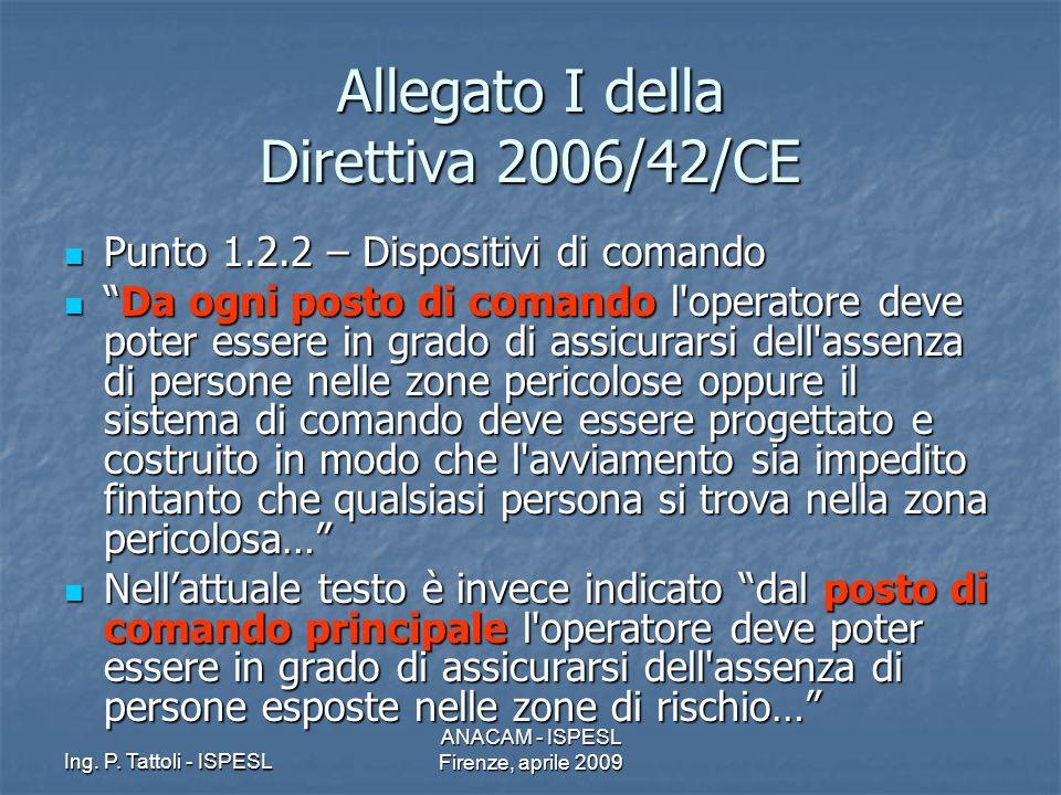 Ing. P. Tattoli - ISPESL ANACAM - ISPESL Firenze, aprile 2009 Allegato I della Direttiva 2006/42/CE Punto 1.2.2 – Dispositivi di comando Punto 1.2.2 –