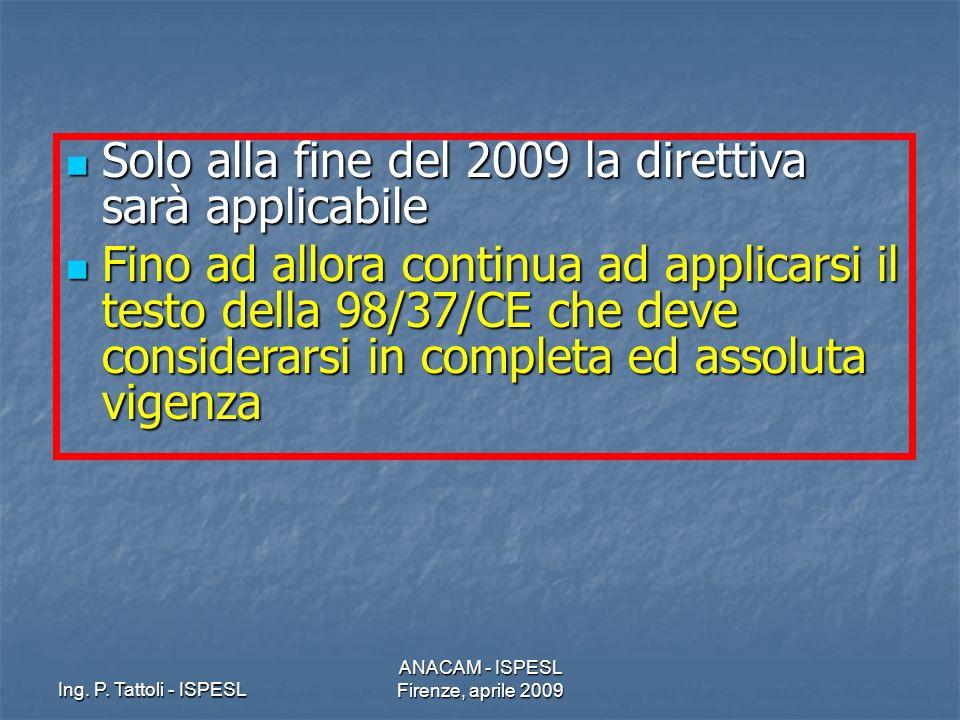 Ing. P. Tattoli - ISPESL ANACAM - ISPESL Firenze, aprile 2009 Solo alla fine del 2009 la direttiva sarà applicabile Solo alla fine del 2009 la diretti