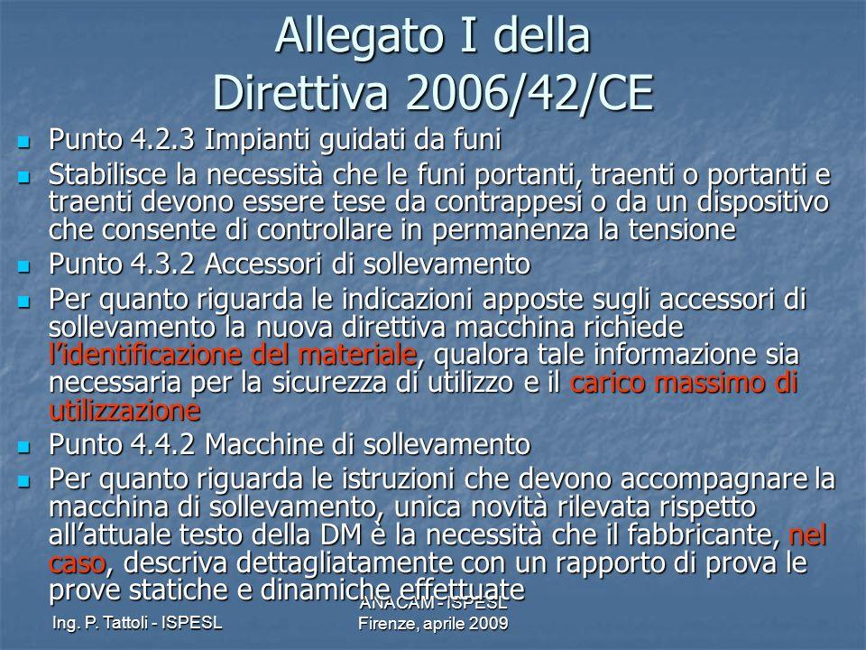 Ing. P. Tattoli - ISPESL ANACAM - ISPESL Firenze, aprile 2009 Allegato I della Direttiva 2006/42/CE Punto 4.2.3 Impianti guidati da funi Punto 4.2.3 I