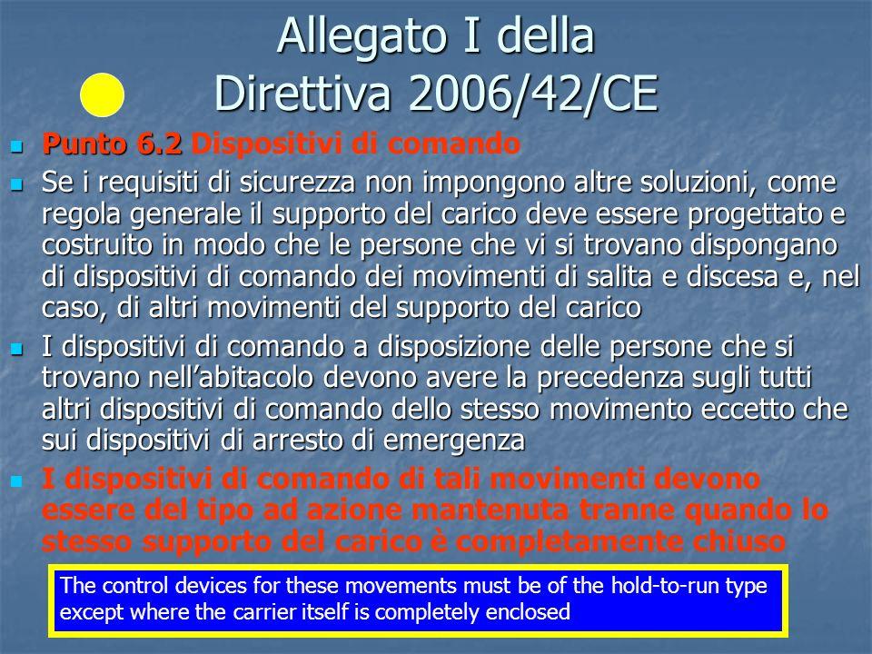 Ing. P. Tattoli - ISPESL ANACAM - ISPESL Firenze, aprile 2009 Allegato I della Direttiva 2006/42/CE Punto 6.2 Punto 6.2 Dispositivi di comando Se i re