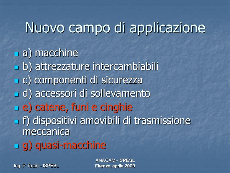 Ing. P. Tattoli - ISPESL ANACAM - ISPESL Firenze, aprile 2009 Nuovo campo di applicazione a) macchine a) macchine b) attrezzature intercambiabili b) a