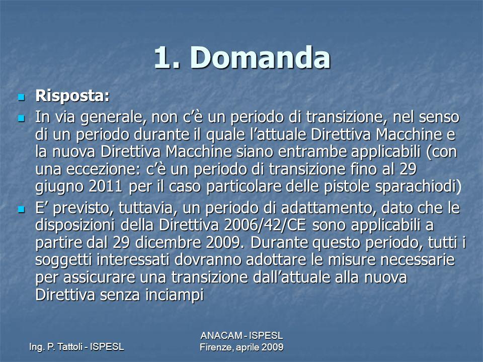 Ing. P. Tattoli - ISPESL ANACAM - ISPESL Firenze, aprile 2009 1. Domanda Risposta: Risposta: In via generale, non cè un periodo di transizione, nel se