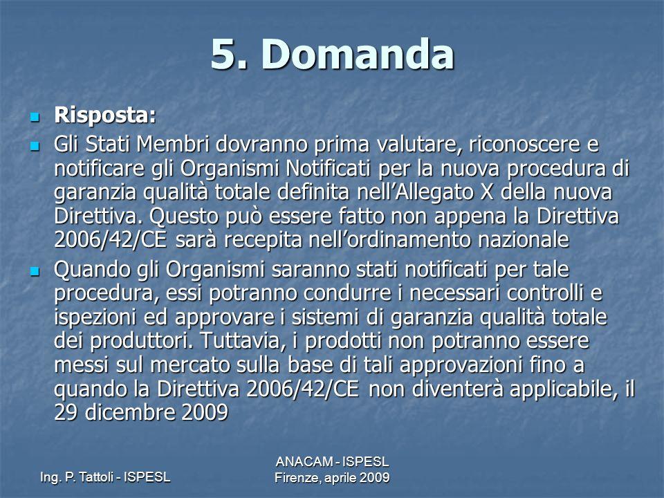 Ing. P. Tattoli - ISPESL ANACAM - ISPESL Firenze, aprile 2009 5. Domanda Risposta: Risposta: Gli Stati Membri dovranno prima valutare, riconoscere e n