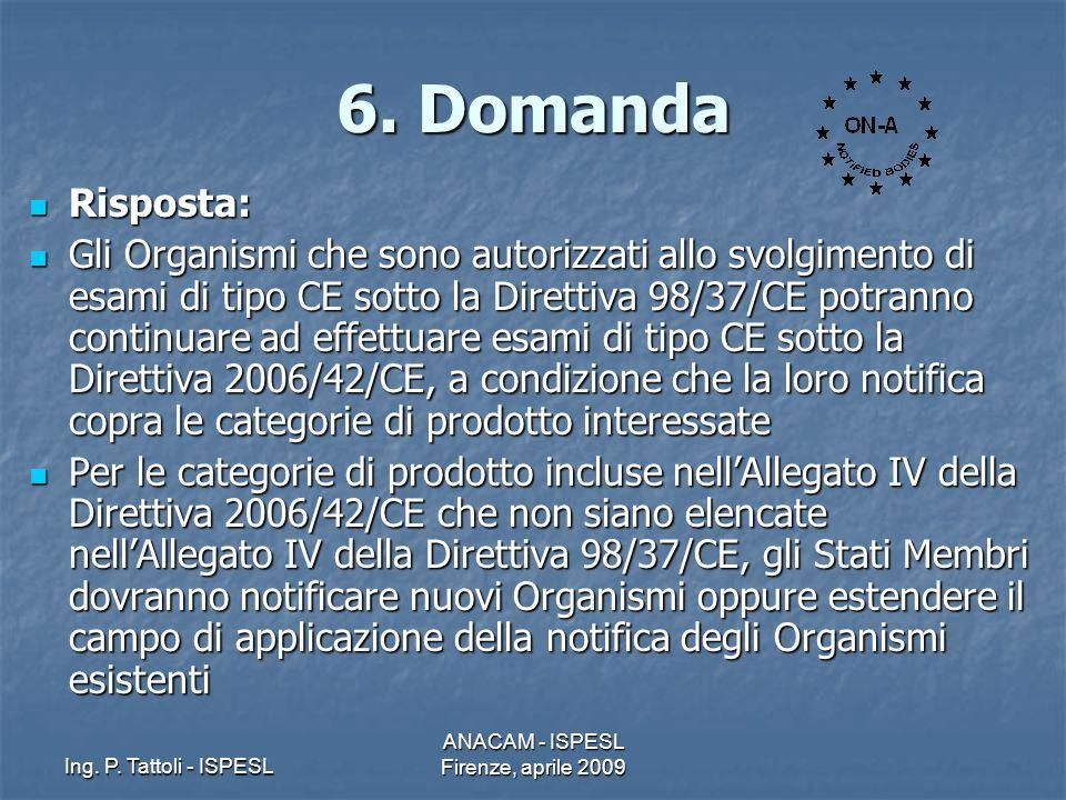Ing. P. Tattoli - ISPESL ANACAM - ISPESL Firenze, aprile 2009 6. Domanda Risposta: Risposta: Gli Organismi che sono autorizzati allo svolgimento di es