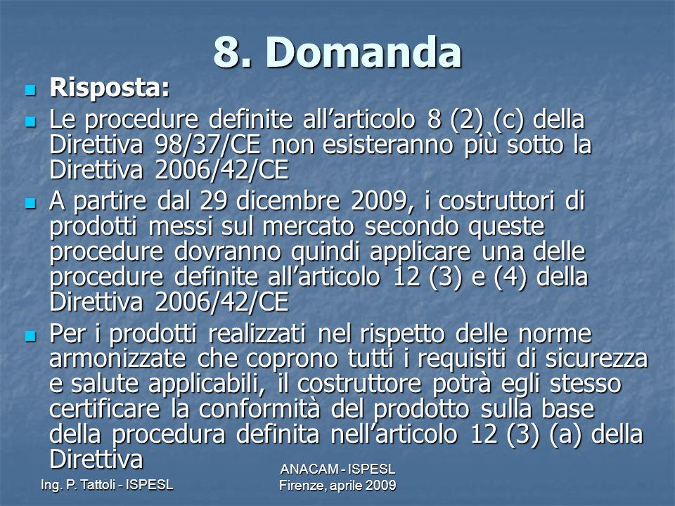 Ing. P. Tattoli - ISPESL ANACAM - ISPESL Firenze, aprile 2009 8. Domanda Risposta: Risposta: Le procedure definite allarticolo 8 (2) (c) della Diretti