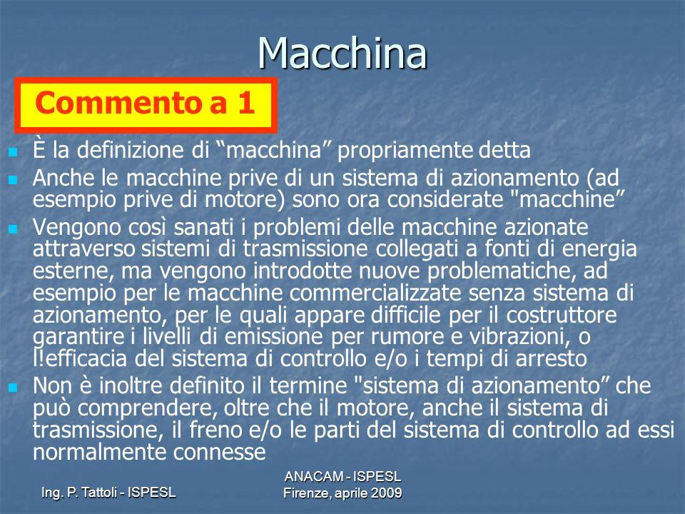 Ing. P. Tattoli - ISPESL ANACAM - ISPESL Firenze, aprile 2009Macchina È la definizione di macchina propriamente detta Anche le macchine prive di un si
