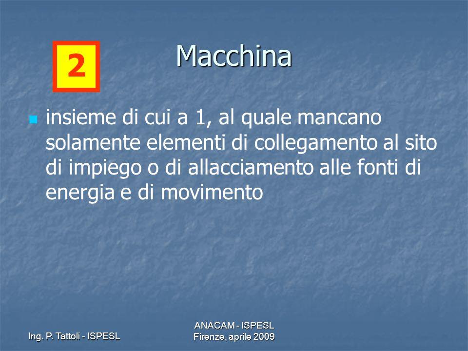 Ing. P. Tattoli - ISPESL ANACAM - ISPESL Firenze, aprile 2009 Macchina insieme di cui a 1, al quale mancano solamente elementi di collegamento al sito
