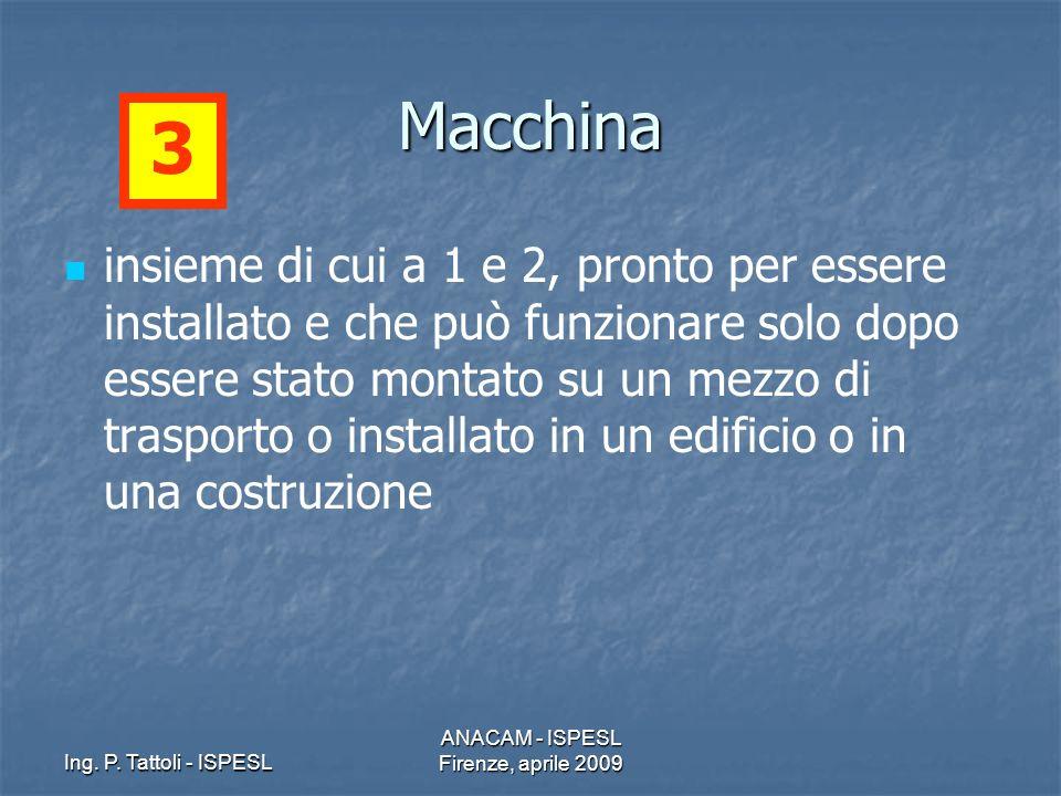 Ing. P. Tattoli - ISPESL ANACAM - ISPESL Firenze, aprile 2009 Macchina insieme di cui a 1 e 2, pronto per essere installato e che può funzionare solo