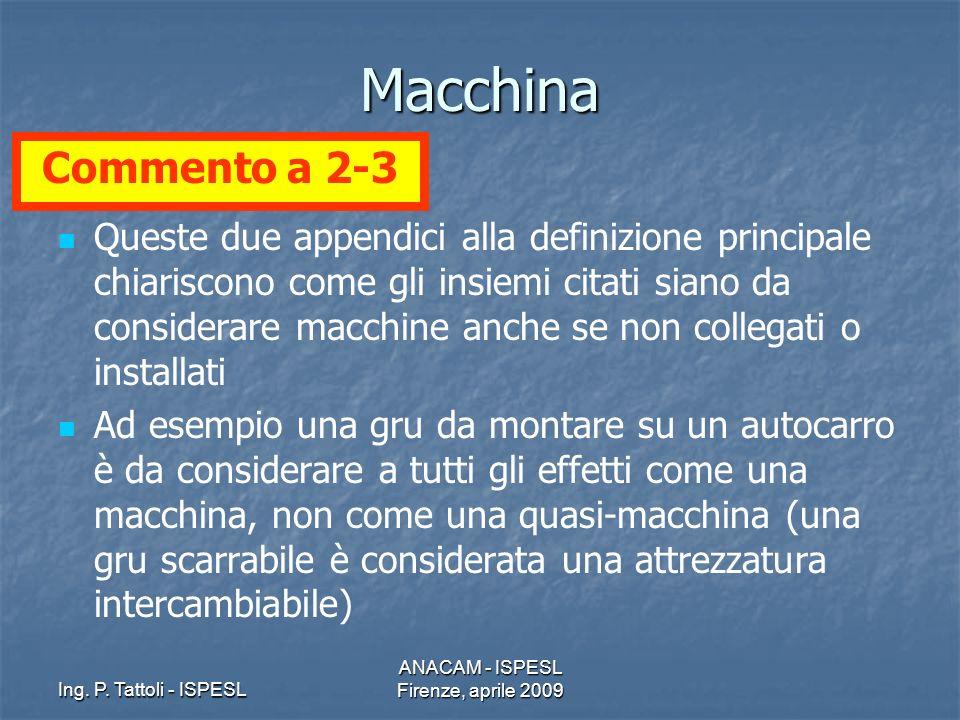 Ing. P. Tattoli - ISPESL ANACAM - ISPESL Firenze, aprile 2009 Macchina Queste due appendici alla definizione principale chiariscono come gli insiemi c