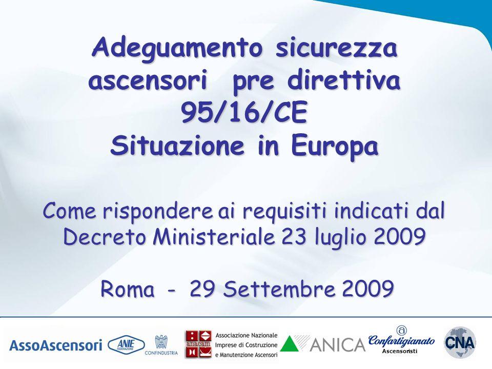 Ascensoristi Adeguamento sicurezza ascensori pre direttiva 95/16/CE Situazione in Europa Come rispondere ai requisiti indicati dal Decreto Ministeriale 23 luglio 2009 Roma - 29 Settembre 2009