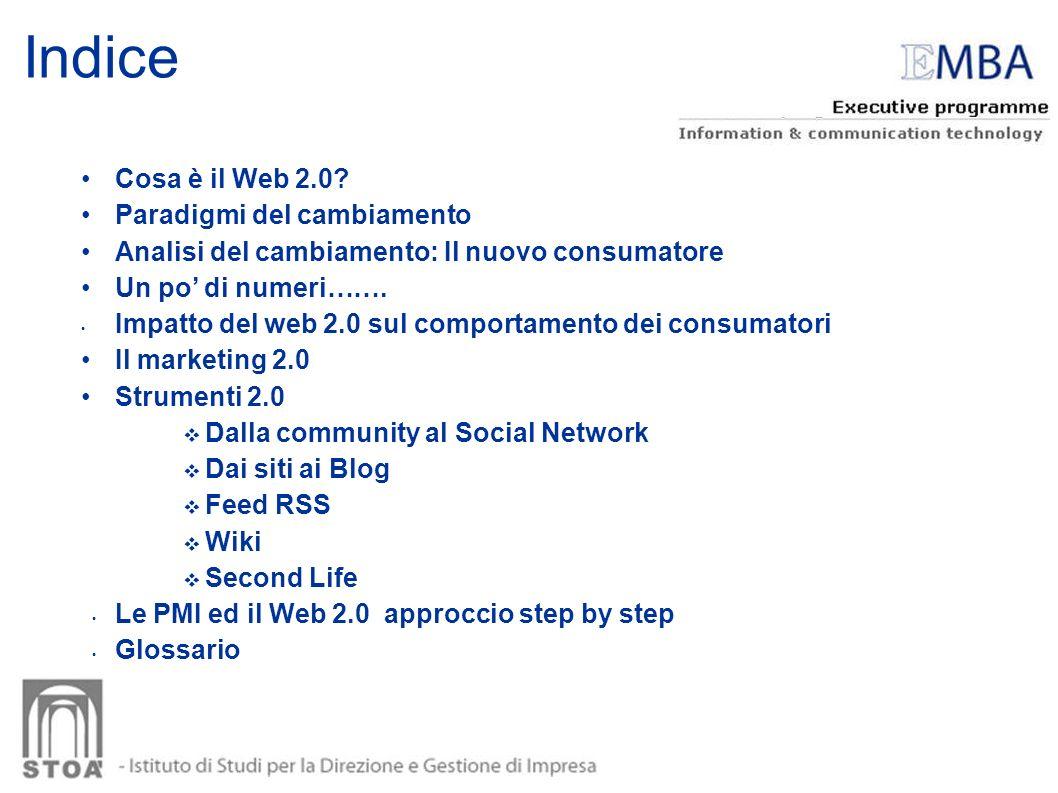 Indice Cosa è il Web 2.0? Paradigmi del cambiamento Analisi del cambiamento: Il nuovo consumatore Un po di numeri……. Impatto del web 2.0 sul comportam