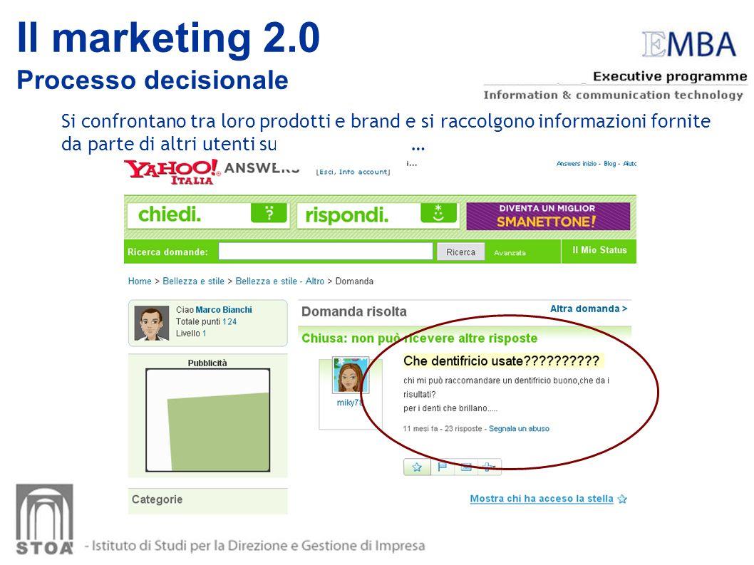 Si confrontano tra loro prodotti e brand e si raccolgono informazioni fornite da parte di altri utenti su di un prodotto … Il marketing 2.0 Processo d
