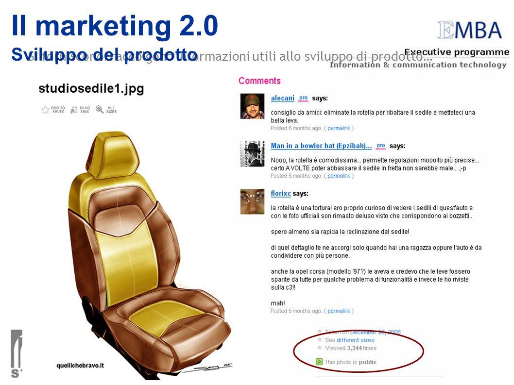 Si forniscono/raccolgono informazioni utili allo sviluppo di prodotto… Il marketing 2.0 Sviluppo del prodotto