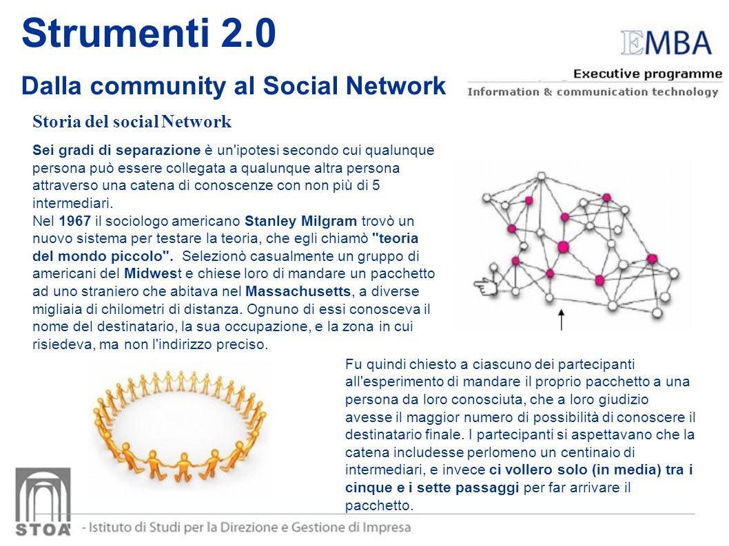 Strumenti 2.0 Dalla community al Social Network Storia del social Network Sei gradi di separazione è un'ipotesi secondo cui qualunque persona può esse