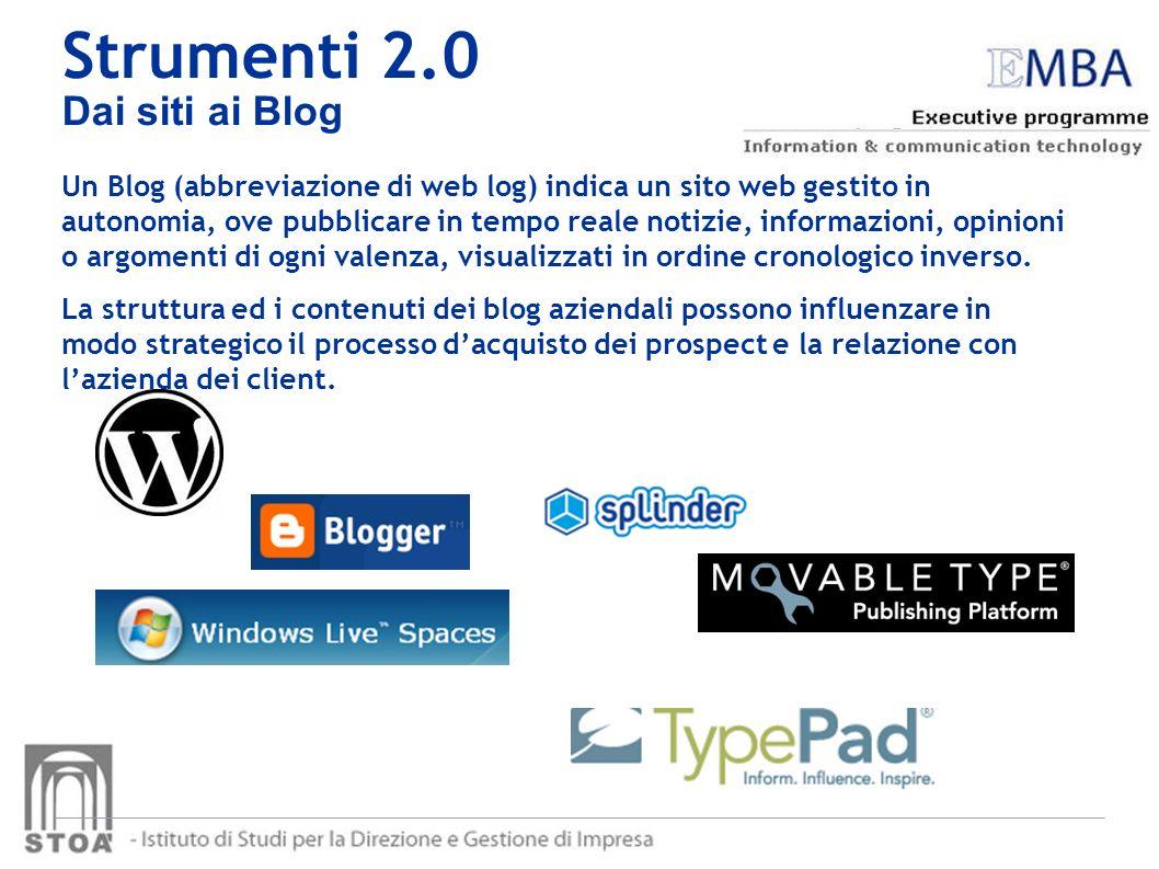 Strumenti 2.0 Dai siti ai Blog Un Blog (abbreviazione di web log) indica un sito web gestito in autonomia, ove pubblicare in tempo reale notizie, info
