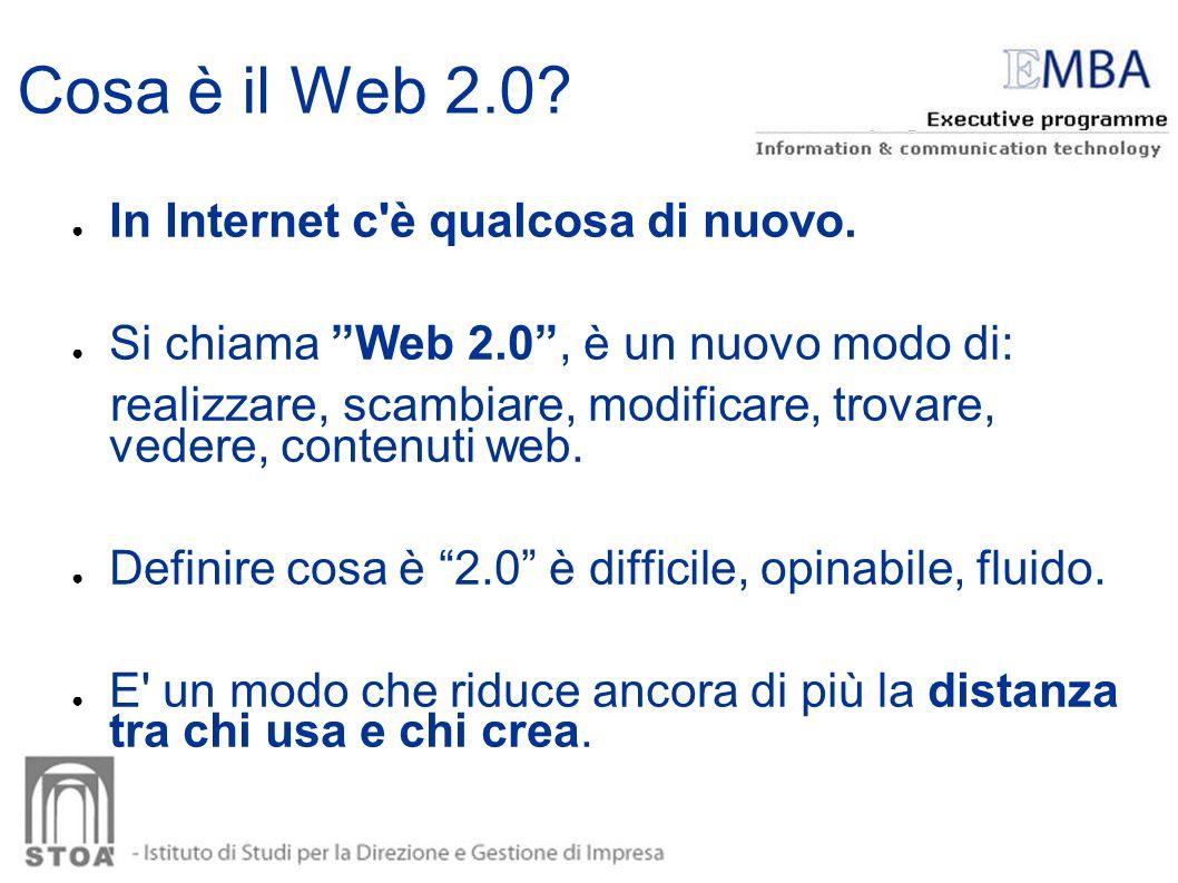 In Internet c'è qualcosa di nuovo. Si chiama Web 2.0, è un nuovo modo di: realizzare, scambiare, modificare, trovare, vedere, contenuti web. Definire