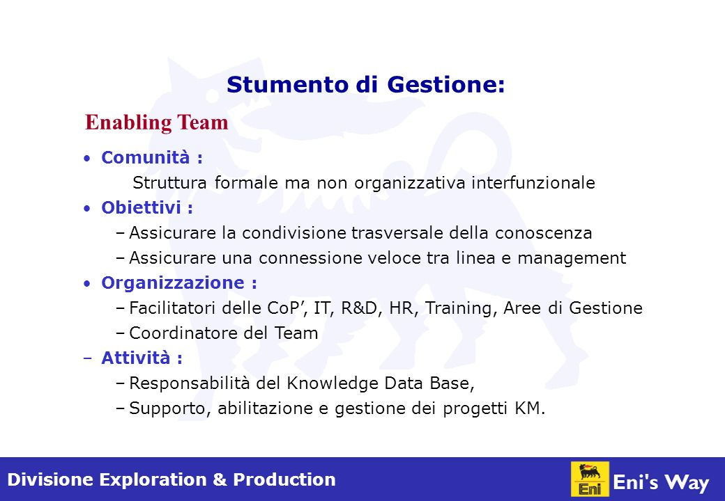 Divisione Exploration & Production KDB Transversal sharing and direct link Direct link CopsFacilitator CopsFacilitator CopsFacilitator CopsFacilitator CopsFacilitator Training IT R&D HR Area
