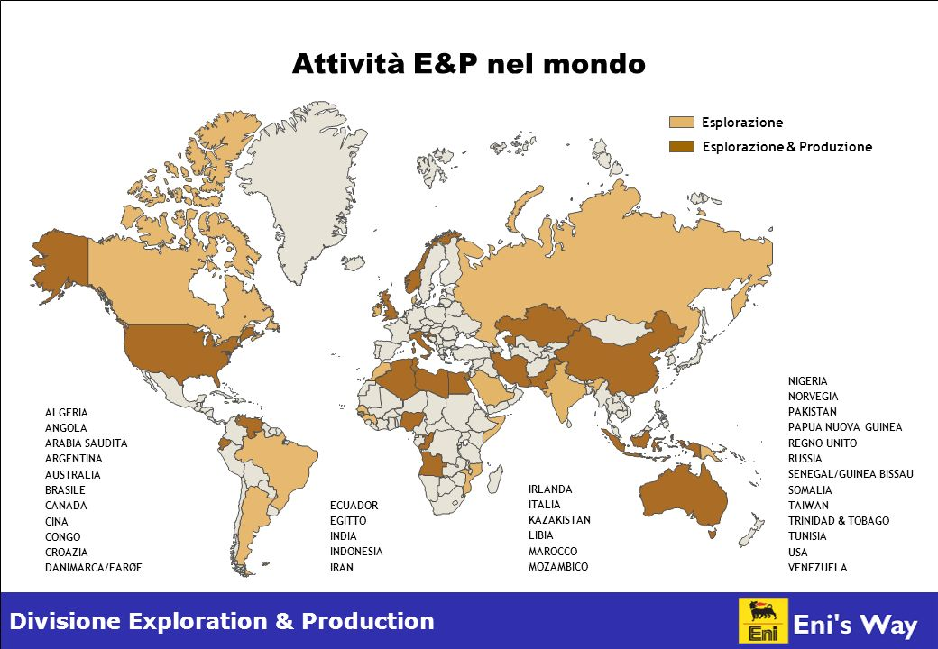 Divisione Exploration & Production Italian GAAPIFRS Principali risultati economico-finanziari E&P* Ricavi Utile operativo Investimenti tecnici di cui di ricerca esplorativa e nuove iniziative di cui in acquisizioni di titoli minerari di cui di sviluppo e di dotazioni patrimoniali 12.877 5.175 5.615 902 317 4.396 12.746 5.746 5.681 635 31 5.015 15.349 8.017 4.912 499 - 4.413 20032002 2004 22.477 12.574 4.964 656 301 4.007 2005 15.346 8.185 4.853 499 - 4.354 2004 (milioni di ) *Dal 2005 Eni redige il bilancio e le relazioni infrannuali conformemente agli IFRS omologati dalla Commissione Europea.