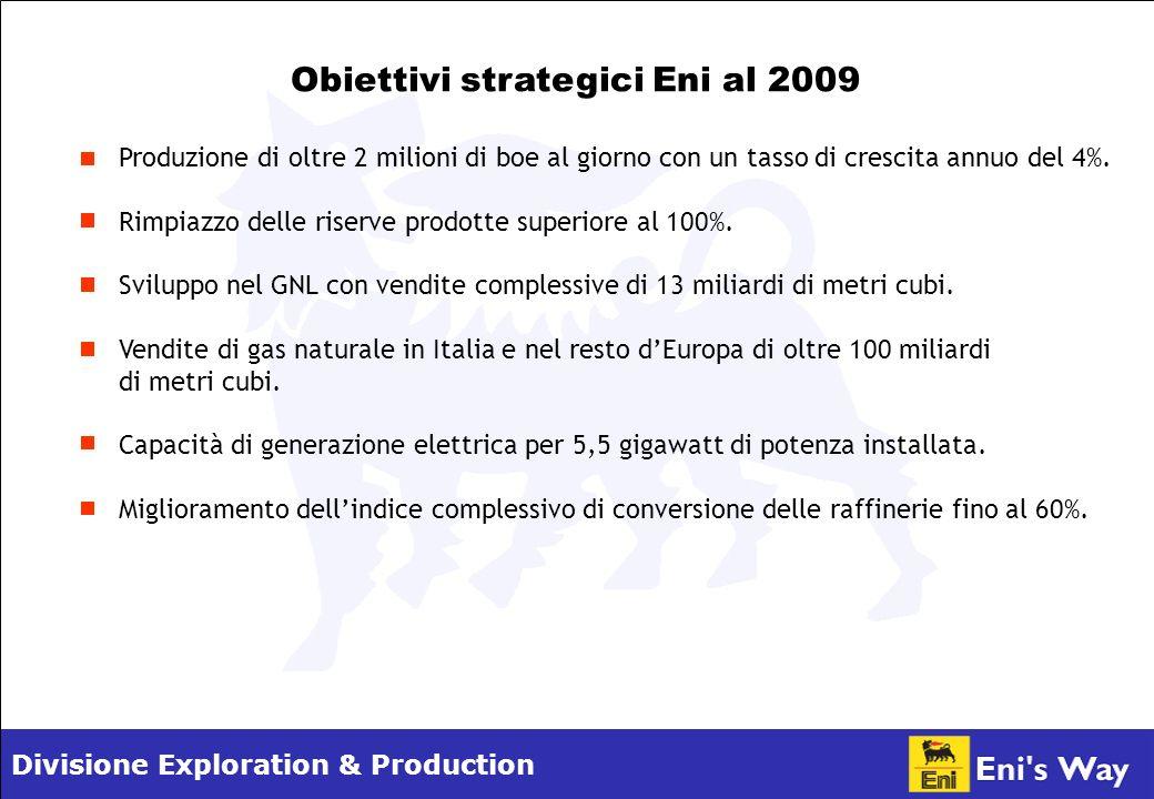 Divisione Exploration & Production Obiettivi strategici Eni al 2009 Produzione di oltre 2 milioni di boe al giorno con un tasso di crescita annuo del 4%.