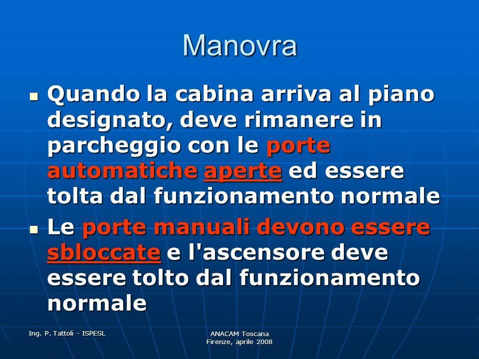 Ing. P. Tattoli - ISPESL ANACAM Toscana Firenze, aprile 2008 Manovra Un ascensore che si allontana dal piano designato, si arresta al primo piano poss