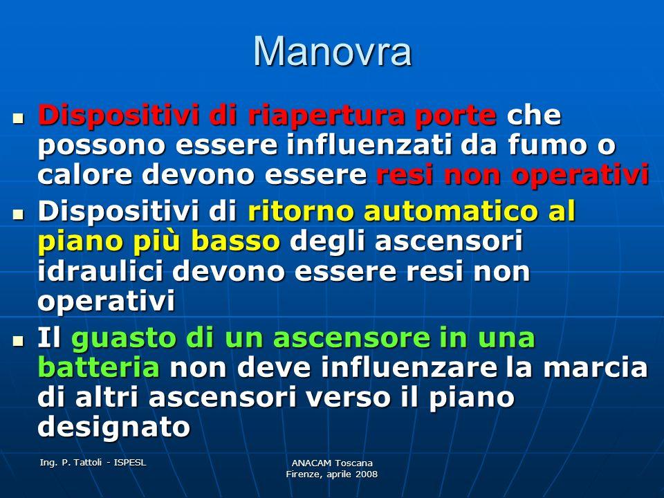 Ing. P. Tattoli - ISPESL ANACAM Toscana Firenze, aprile 2008 Manovra Quando la cabina arriva al piano designato, deve rimanere in parcheggio con le po