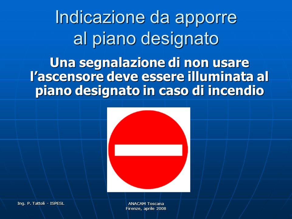 Ing. P. Tattoli - ISPESL ANACAM Toscana Firenze, aprile 2008 Manovra: RIMESSA IN SERVIZIO L'ascensore deve essere rimesso in funzionamento normale per