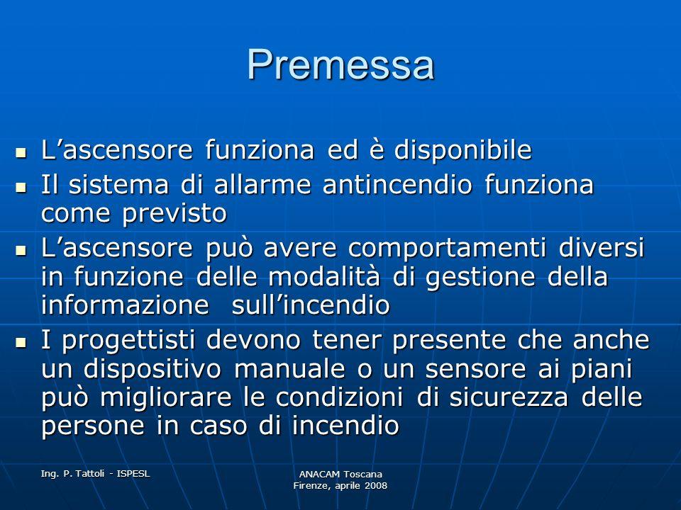 Ing. P. Tattoli - ISPESL ANACAM Toscana Firenze, aprile 2008 Premessa Questa norma si applica a tutti gli ascensori Questa norma si applica a tutti gl