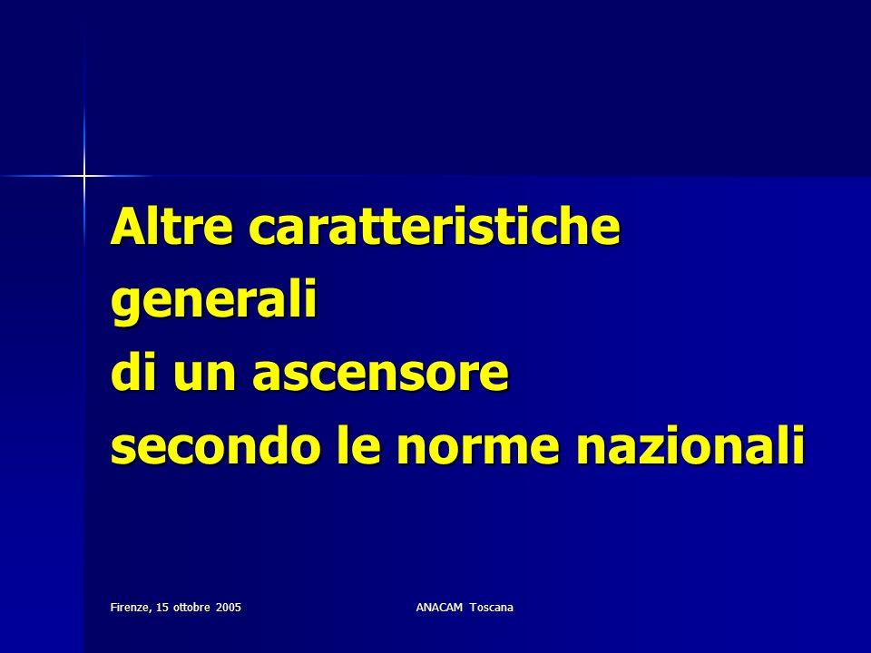 Firenze, 15 ottobre 2005ANACAM Toscana Altre caratteristiche generali di un ascensore secondo le norme nazionali