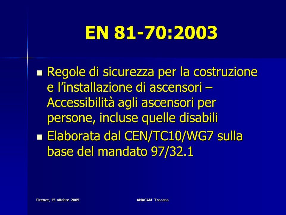 Firenze, 15 ottobre 2005ANACAM Toscana EN 81-70:2003 Regole di sicurezza per la costruzione e linstallazione di ascensori – Accessibilità agli ascenso