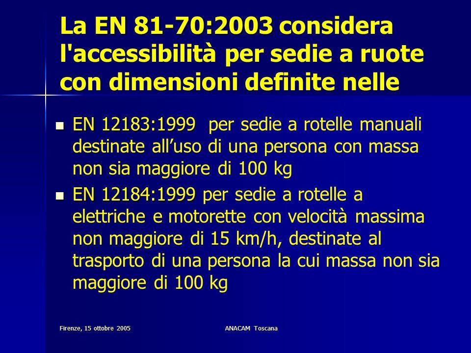 Firenze, 15 ottobre 2005ANACAM Toscana EN 81-70:2003 La EN 81-70:2003 considera l'accessibilità per sedie a ruote con dimensioni definite nelle EN 121