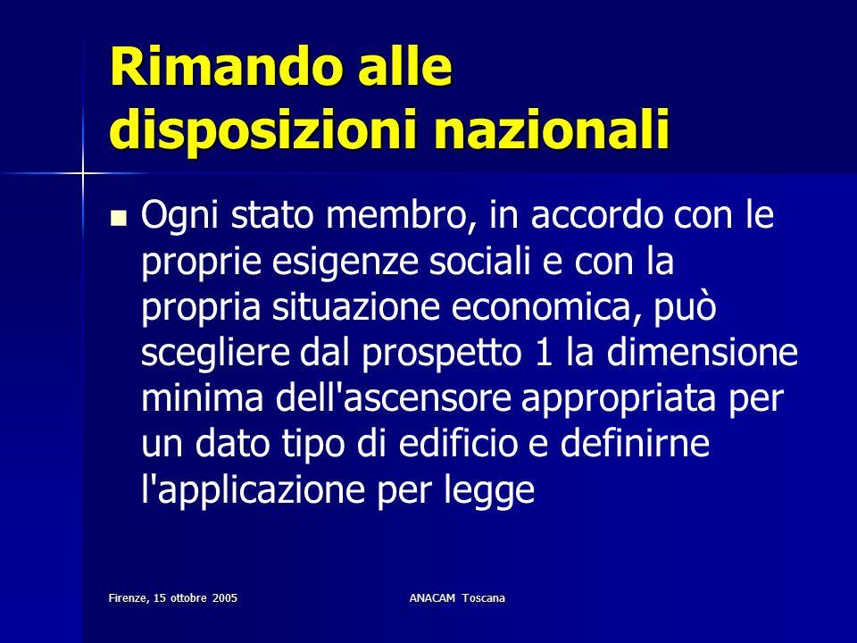 Firenze, 15 ottobre 2005ANACAM Toscana Rimando alle disposizioni nazionali Ogni stato membro, in accordo con le proprie esigenze sociali e con la prop