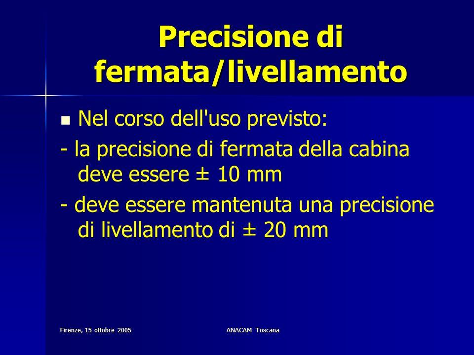 Firenze, 15 ottobre 2005ANACAM Toscana Precisione di fermata/livellamento Nel corso dell'uso previsto: - la precisione di fermata della cabina deve es