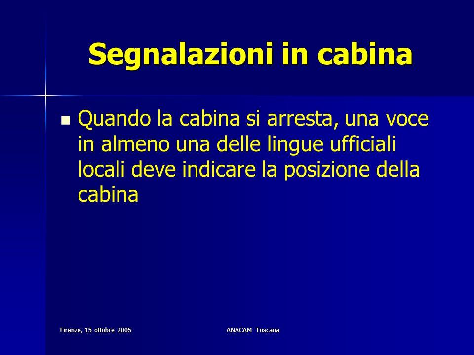 Firenze, 15 ottobre 2005ANACAM Toscana Segnalazioni in cabina Quando la cabina si arresta, una voce in almeno una delle lingue ufficiali locali deve i