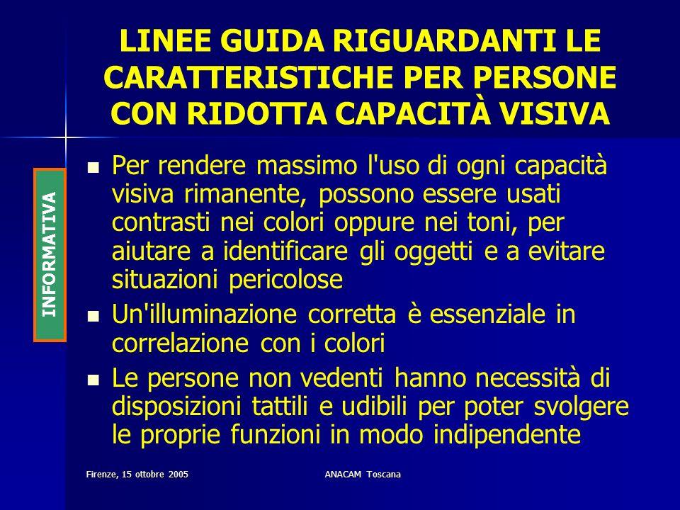 Firenze, 15 ottobre 2005ANACAM Toscana LINEE GUIDA RIGUARDANTI LE CARATTERISTICHE PER PERSONE CON RIDOTTA CAPACITÀ VISIVA Per rendere massimo l'uso di